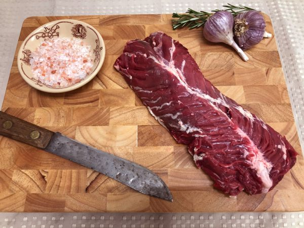 Hanger Steak on cutting board